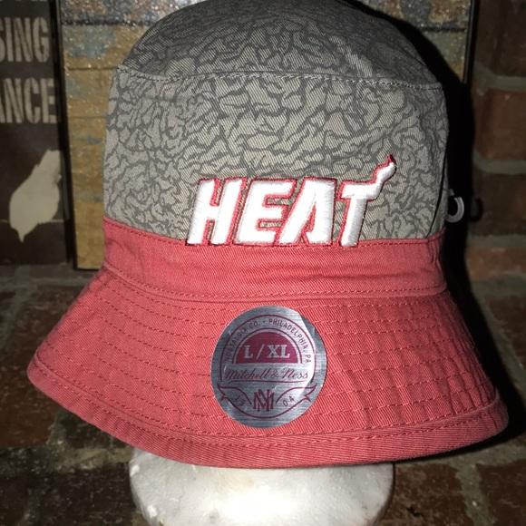 3abd0e93905 Mitchell   Ness Miami Heat Bucket Hat
